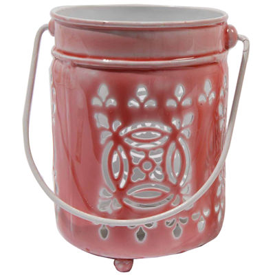 "7.5"" L'Eau de Fleur Rose Pink Cut-Out Votive Candle Lantern"""