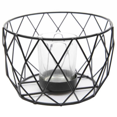 Basic Luxury Diamond Patterned Jet Black Tea Light Candle Holder 5.5""