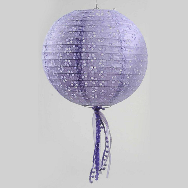 "10"" Tea Garden Purple Floral Cut-Out Chinese PaperLantern with Pom Pom Tassels"""