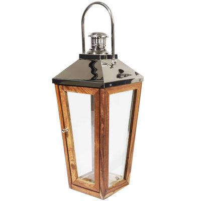 "28.5"" Beach Day Over-Sized Modern Stainless Steeland Sheesham Wooden Pillar Candle Lantern"""