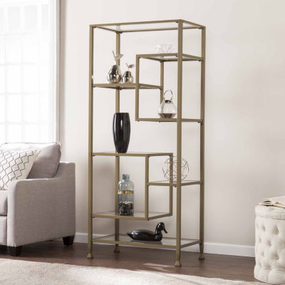 Modern Life Furniture Metal/Glass Asymmetrical Etagere/Bookcase
