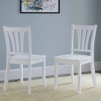 CorLiving Dillon Stained Solid Wood Dining Chairs with Curved Vertical Slat Backrest, Set of 2