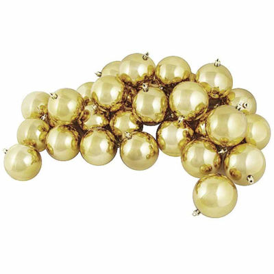 "12CT Shiny Champagne Gold Shatterproof Christmas Ball Ornaments 4"" (100mm)"""