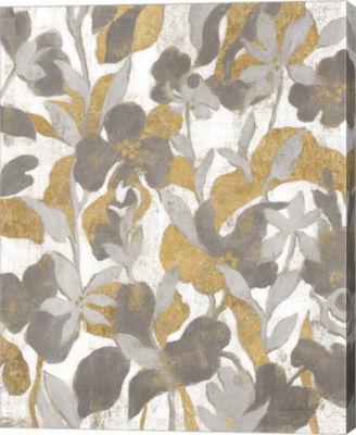 Metaverse Art Painted Tropical Screen II Gray GoldCanvas Art