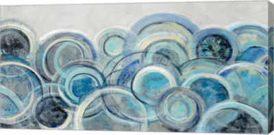 Metaverse Art Variation Blue Grey Crop Canvas Art