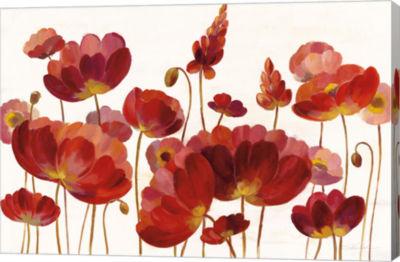 Metaverse Art Red Flowers on White Crop Canvas Art