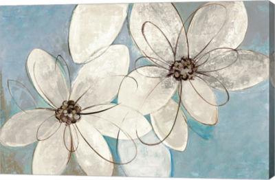 Metaverse Art Blue and Neutral Floral Canvas Art