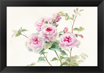 Metaverse Art Sweet Roses on White Green Framed Print