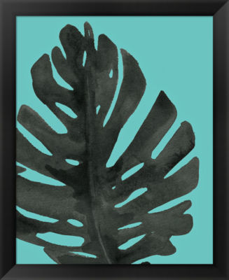Metaverse Art Tropical Palm I BW Turquoise FramedPrint
