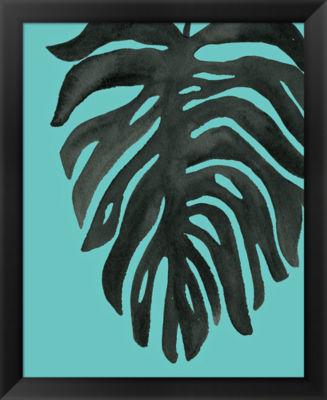 Metaverse Art Tropical Palm II BW Turquoise FramedPrint