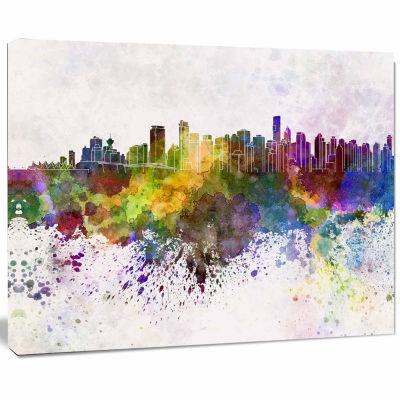 Designart Vancouver Skyline Cityscape Canvas Artwork Print