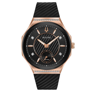 Bulova Womens Black Strap Watch-98r239