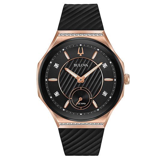 Bulova Womens Black Strap Watch-98r239