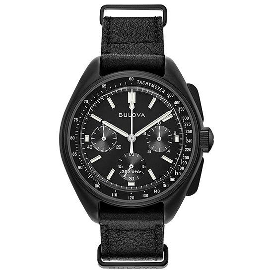 Bulova Marine Star Mens Black Leather Strap Watch-98a186