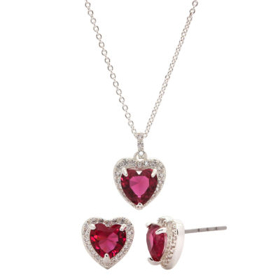 Sparkle Allure Red Silver Tone Pure Silver Over Brass Heart 2-pc. Jewelry Set