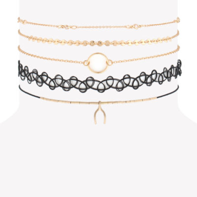 Decree Womens 5-pc. Clear Round Necklace Set