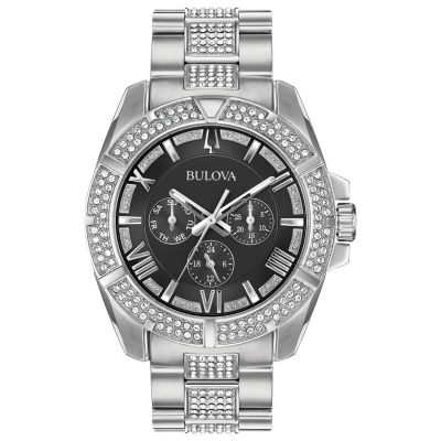 Bulova Mens Silver Tone Bracelet Watch-96c126