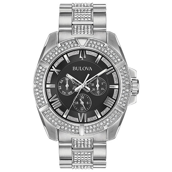 Bulova Mens Silver Tone Bracelet Watch 96c126