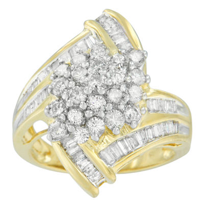 Womens 2 CT. T.W. Genuine Diamond 10K Gold Cluster Ring