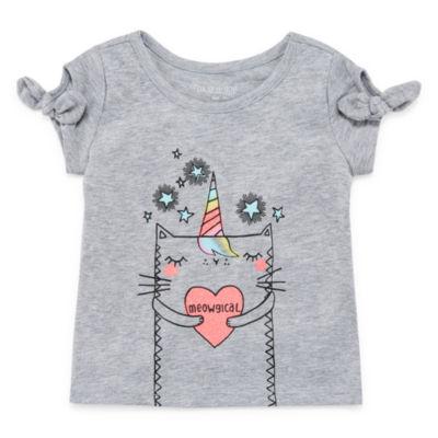 Okie Dokie Bow Sleeve Graphic T-Shirt-Baby Girls NB-24M