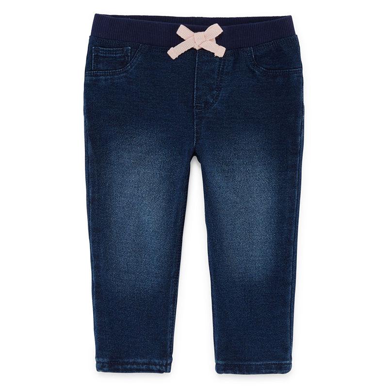 Okie Dokie Denim Pull-On Pants, Girls, Medium Wash, Size 3 Months