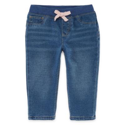 Okie Dokie Denim Pull-On Pants - Baby Girl NB-24M