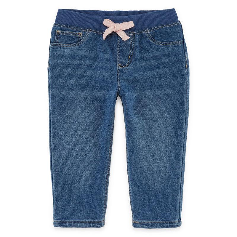Okie Dokie Denim Pull-On Pants, Girls, Light Wash, Size 6 Months