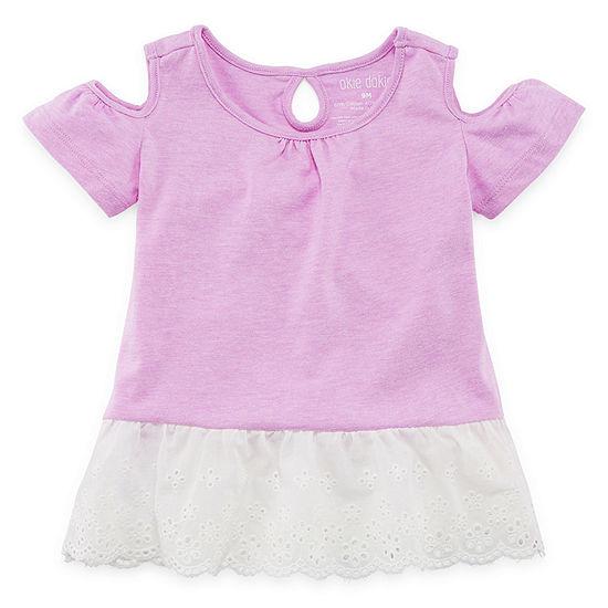 Okie Dokie Girls Crew Neck Short Sleeve Graphic T-Shirt - Baby
