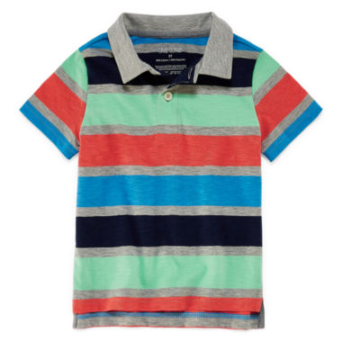 Okie Dokie Short Sleeve Stripe Slubbed Polo Shirt - Toddler Boys