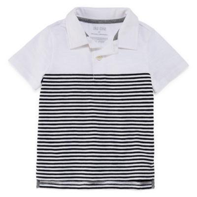 Okie Dokie Short Sleeve Stripe Slubbed Polo Shirt-Toddler Boys
