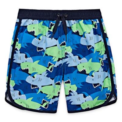 Okie Dokie Shark Print Swim Trunk - Toddler Boys