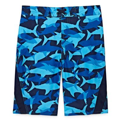 Arizona Shark Print Swim Trunk - Boys 4-20 & Husky