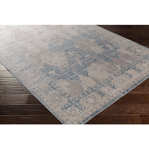 Gironella Blue Damask Area Rug