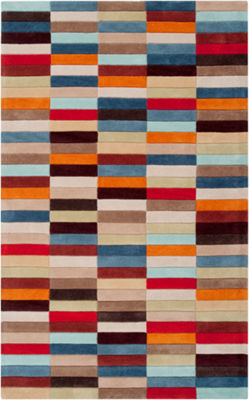 Eira Red-Orange Geometric Area Rug