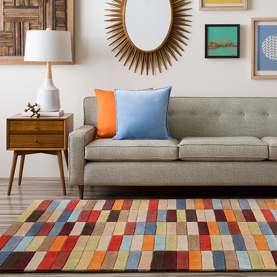 Eira Red Orange Geometric Area Rug