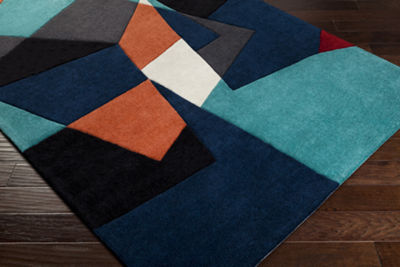 Eisen Orange-Blue Geometric Area Rug