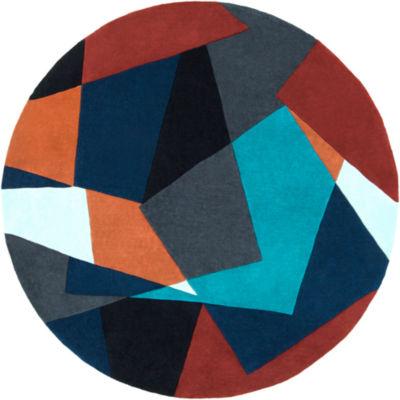 Eisen Orange-Blue Geometric Round Area Rug