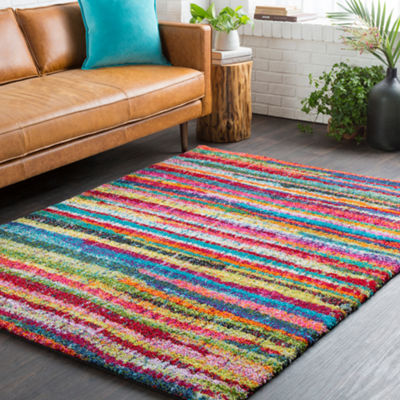 Elrose Pink-Gray Stripe Area Rug