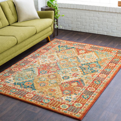 Hannigan Red-Orange Medallion Area Rug