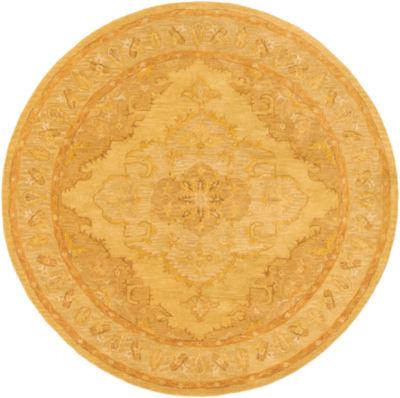 Jaidyn Yellow Medallion Round Area Rug