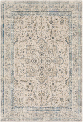 Juhan Blue Damask Area Rug