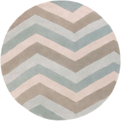 Ettelbrek Blue-Gray Geometric Round Area Rug