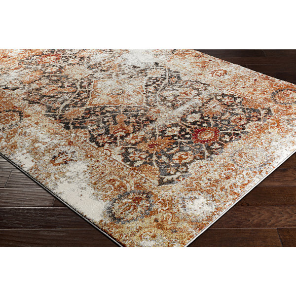 Erko Orange Damask Area Rug
