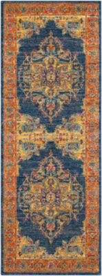 Fairholt Blue-Orange Medallion Runner