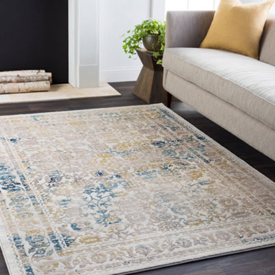Gardet Cream Damask Area Rugs
