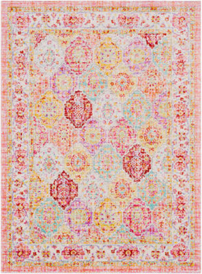 Looke Pink Medallion Area Rug