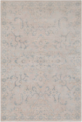 Malvina Blue Damask Area Rug