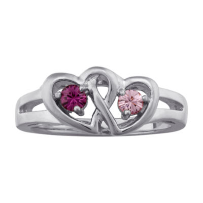 Personalized Sterling Silver Couples Heart Ring