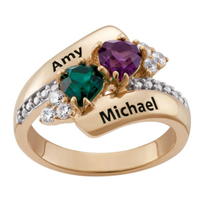 Personalized 18K Gold Over Silver Couples Heart Birthstone Ring