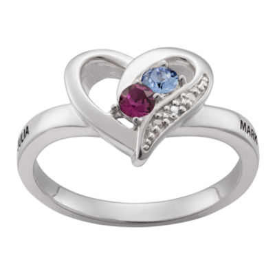 Personalized Sterling Silver Couple's Heart Ring With Diamond Accent